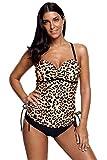 Cali Chic Women's Swimsuit Celebrity Cute Leopard Print Tankini Swimwear Multicolor Small