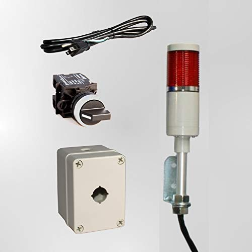 LED Tower Light Station Kit, LED Andon Light Kit KT-5211-101, LED Stacklight Kit, Flashing Capable, 120V, Red, 2 Pos Off/Steady OR Off/Flashing