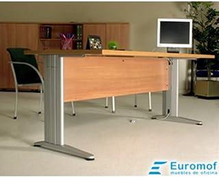 Mesa de Oficina. Euro 3000. Color Nogal Americano. 180x80 cm. Patas en T de Metal.