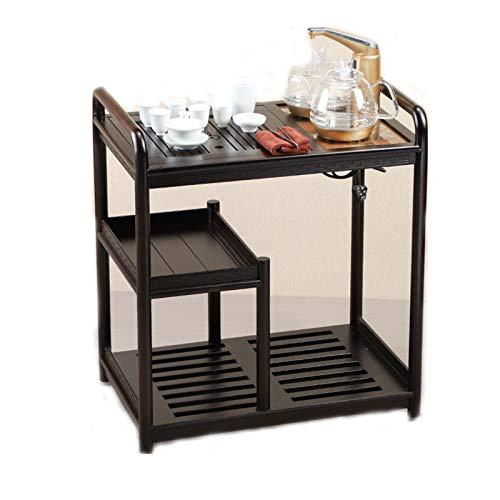 TWW Beweglicher Teetisch, Wasserkocher, Teetisch, Teeservice, Wohnzimmer, Teeschrank, Ebenholzfarbe, Kleiner Haushalts-Massivholz-Teewagen,Schwarz