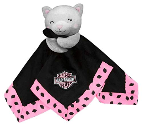 Harley-Davidson Kitty Cuddles 14 in. Plush Kitty Blanket, Black & Pink 9900907