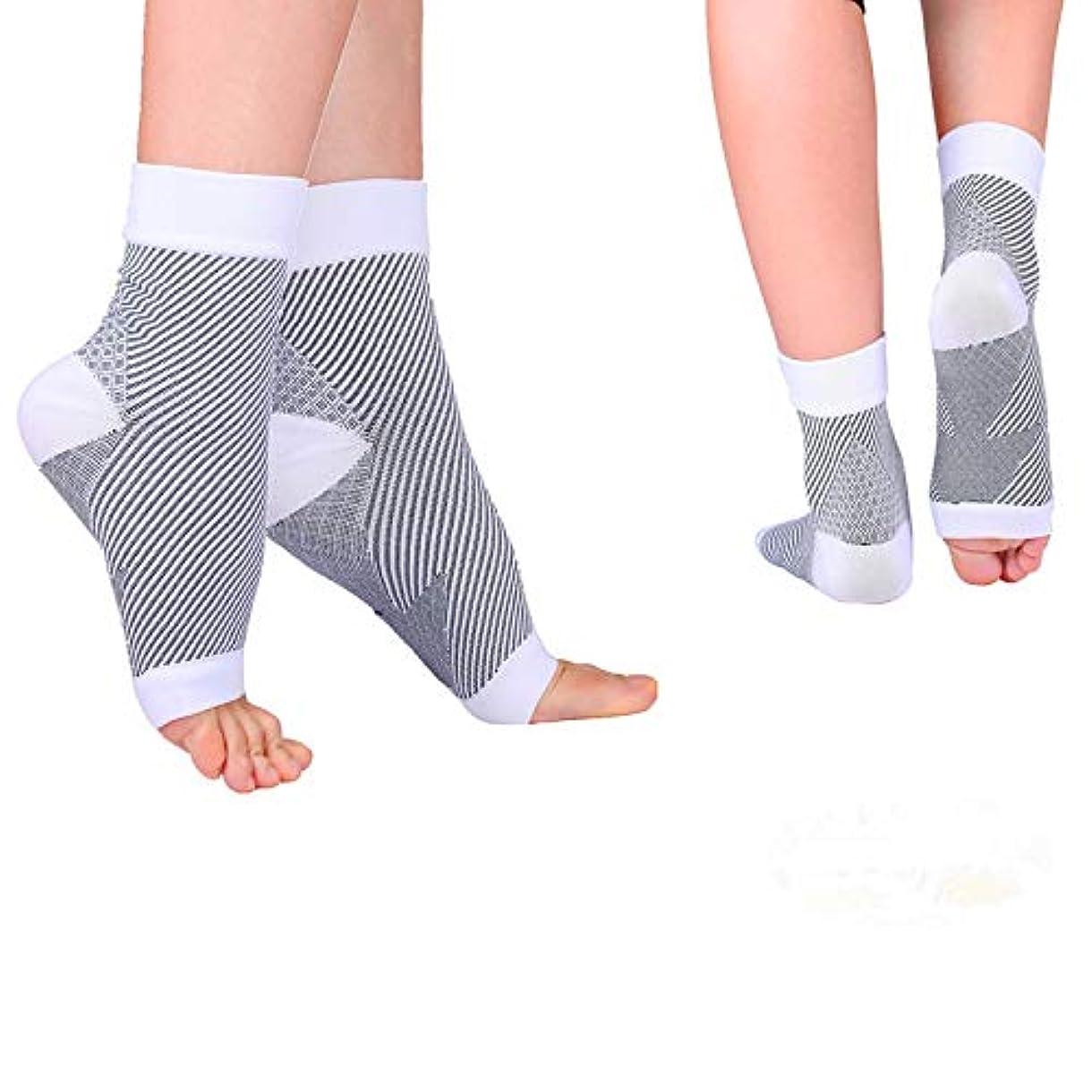 パキスタン人植物のとても通気性足首ソックス 足 サポーター 足首固定足の腫れを軽減する-2枚組