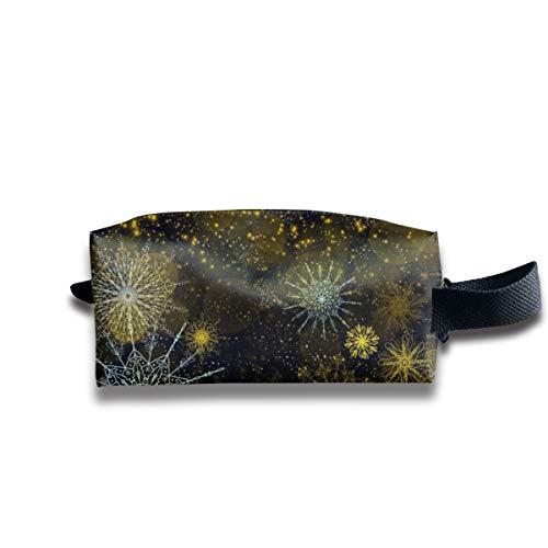 Sterne, Schneeflocken, goldene Scheine auf einem schwarzen Segeltuch-Make-upbeutel-Beutel-Geldbeutel-Handtaschen-Organisator mit Reißverschluss