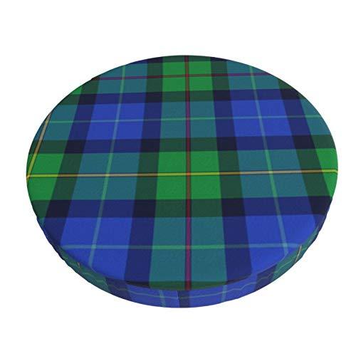 Smith - Funda de taburete redonda y transpirable, lavable, diseño de tartán variante de colores modernos, color redondo, funda elástica para asiento de taburete, 45,8 cm