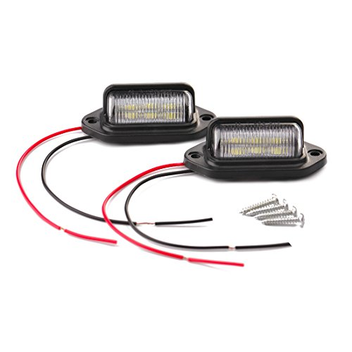 CZC AUTO 12V LED Exterior License Plate Tag Light, Interior Courtesy Dome/Roof Trunk/Cargo Underhood Lamp, Total 12 White SMD Bulb, Legal for Car Truck RV Trailer (White light, 2 Pack)