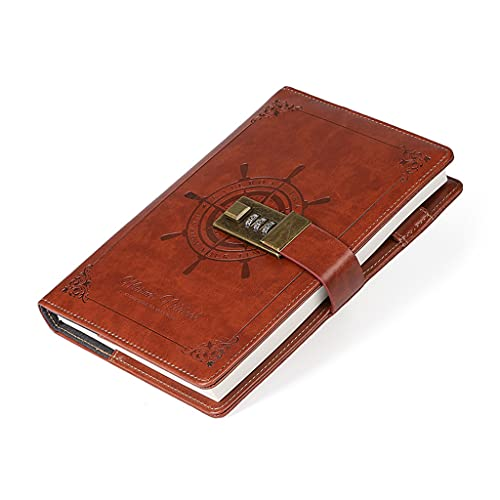 WTALL Bloc de Notas de Bolsillo B6 con Clip de Bloqueo de contraseña, Soporte para bolígrafo, Cuaderno de Negocios Retro, Suministros de papelería para Oficina y Escuela
