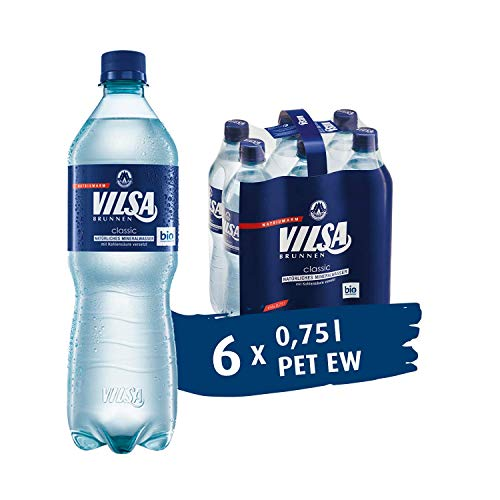VILSA Mineralwasser classic, 6er Pack Mineralwasser mit Kohlensäure, natriumarm, in Einwegflaschen (6 x 0,75 l PET)