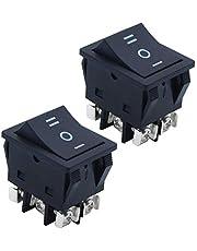 KingYH 2 Piezas Interruptor Basculante 3 Pin ON-OFF-ON Interruptores de Botón 25A 250V DPDT Coche Interruptor para Automóviles Motocicletas Barcos Eléctricos Instrumentos-Noir