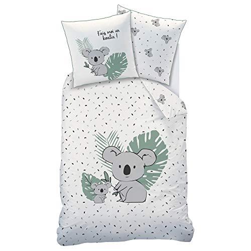Matt&Rose Koalin Parure de lit Enfant 100% Coton Toucher Tout Doux Peau de pêche, Housse de Couette 140x200 cm et taie d'oreiller 63x63 cm, Koala, Câlin
