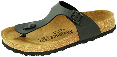 JOE N JOYCE RIO Unisex Thong Sandals, Flip Flops for Men & Women, Size W8/M6 US, Black, SynSoft, trendy Roman style, one strap, Boys, Girls