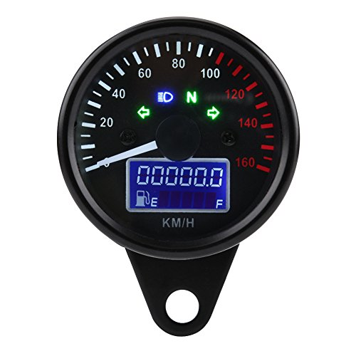 Keenso Universal Motorrad Digital LCD Tachometer Tachometer Geschwindigkeitsmesser 160 kMH DC 12 V