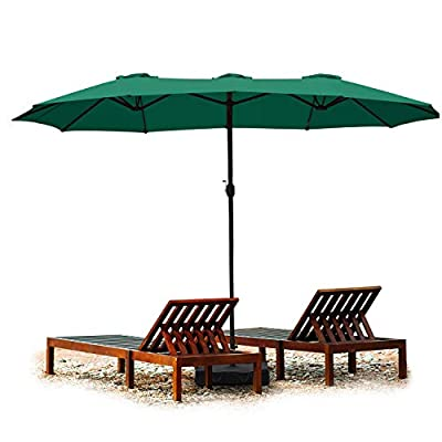 Aoodor 15 ft. Double Sided Patio Umbrella Dining Table Outdoor Market Umbrella with Base Stand - Green Color