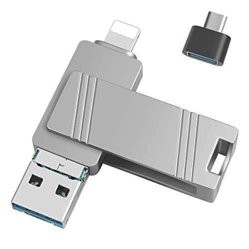 USB-Stick OTG 3 in 1 Flash Drive USB 3.0 verschlüsselte Daumenlaufwerke kompatibel mit iPhone Android Geräten / PC / Tablet / Mac, Foto-Speicher Jump Drive (256 GB, Silber)