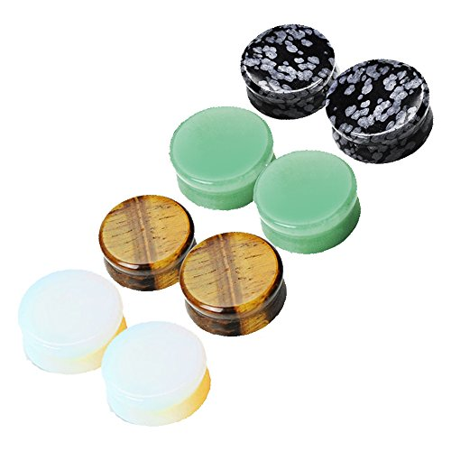 MoBody 4 Pairs Mixed Natural Stone Ear Gauge Plugs Set Double Flared Ear Stretching Expanders Kit 8G-00G (2G (6mm))