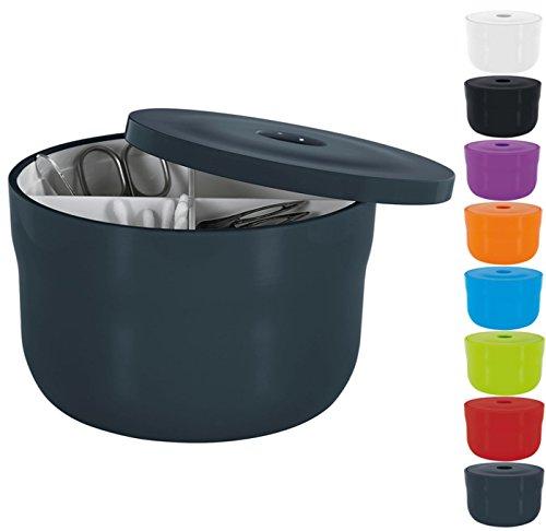 Spirella Kosmetikorganizer Cocco mit individuell verstellbaren Fächern Aufbewahrungsbox für Make Up und Schmuck 15x9cm mit Deckel Dunkelgrau