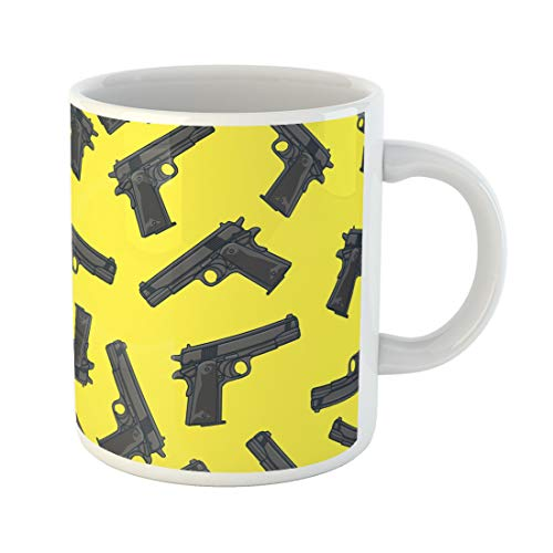 Semtomn Funny Coffee Mug Colorful Pattern Guns Pistols Gangster Military Shot Silhouette Airsoft 11 Oz Ceramic Coffee Mugs Tea Cup Best Gift Or Souvenir