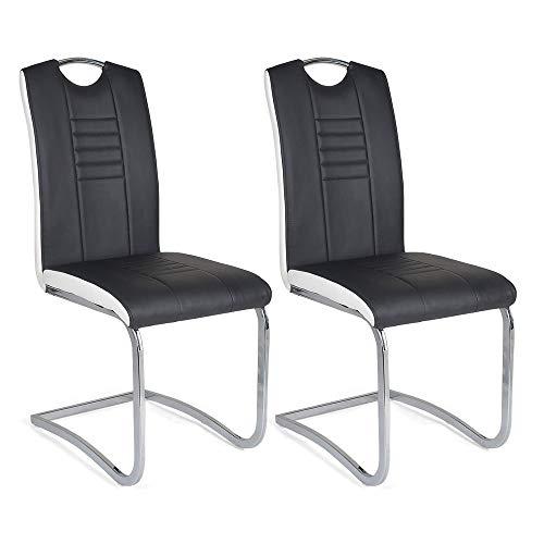 Mingone Morden PU Leder Esszimmerstühle 2er Set Küchenstühle mit hoher Rückenlehne Edelstahl Metallbeine, Schwarz
