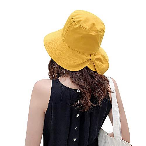 Ningz0l Zonnehoed voor de zomer, van katoen, voor de zomer, effen kleur, beschermt tegen UV-stralen, parasol, koepel, vishoed geel