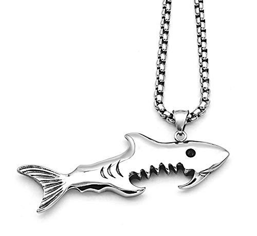 Hip Hop Tendencia tiburón Colgante Hombres Botella abrelatas Creativo Titanio Acero Collar...