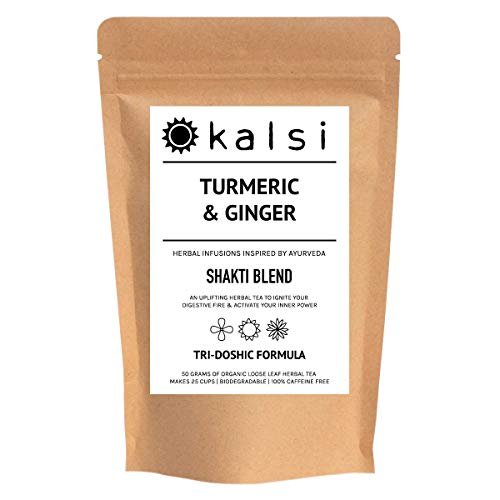 Turmeric & Ginger Chai Bundle | 50 Grams Loose Leaf Herbal Tea Plus Free Tea Infuser Ball Included | Organic | Perfect for Making Golden Milk | Turmeric Latte