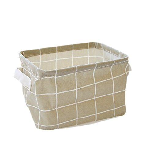Weimay Boîte de stockage en tissu pliable avec quadrillage pour bureau, jouets, organisation (blanche) 20 X 16 X 14CM gris