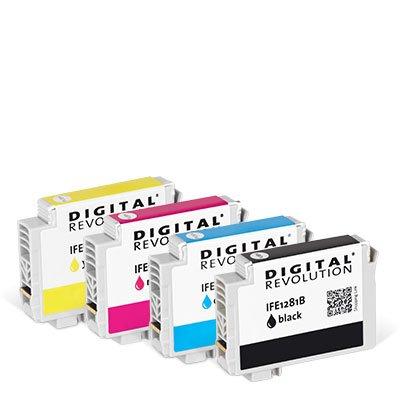 Digital Revolution, Tintenpatronen Multipack 'BCMY', 31 ml, Originalverpackte Markenpatrone, ersetzt: Epson T1285, T1281, T1282, T1283, T1284, schwarz, Cyan, Magenta, gelb