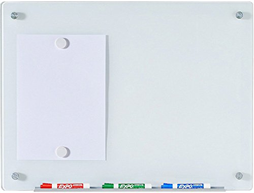 Audio-Visual Direct White Magnetic Glass Dry-Erase Board Set - 17 3/4 x 23 5/8 Inches -
