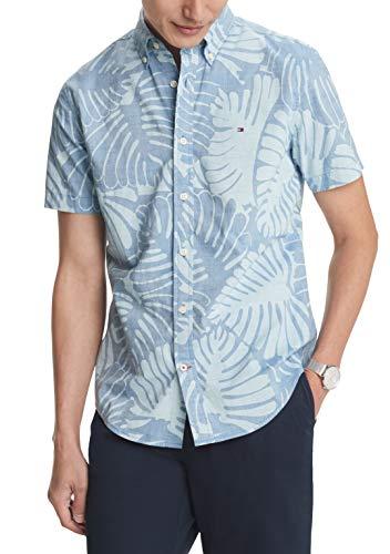 Tommy Hilfiger - Camisa de manga corta con botones para hombre, ajuste personalizado