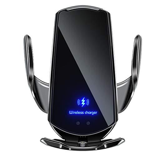 [Versão atualizada] Carregador de carro sem fio, suporte de telefone para carro com fixação automática Qi 15 W, carregamento rápido compatível 12/12Pro/11/11 Pro/XS Max/X/8/8+, Samsung Note9/Note10/S9+/S10+