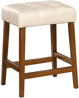 Amazon Com Homepop Leatherette Square Tufted Backless Counter Height Stool 24 Inch Ivory Furniture Decor