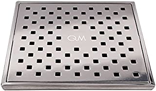 QM Square Shower Drain, Grate made of Stainless Steel Marine 316 and Base made of ABS, Lagos Series Tulia Line, 5 inch 3/4, Polished Finish, Kit includes Hair Trap/Strainer and Key