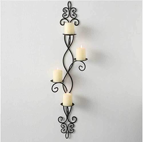 SIDCO Kerzenhalter Wand antik Wandkerzenhalter Metall Wandleuchter schwarz Windlicht