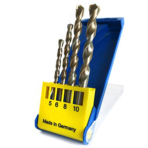 S&R Concrete Masonry Drill Bit Set (SUPERSCHLAG), 4 Pieces, 5 x 85/6 x 100/8 / 10 x 120 x 120 mm/Professional Quality Made in Germany/