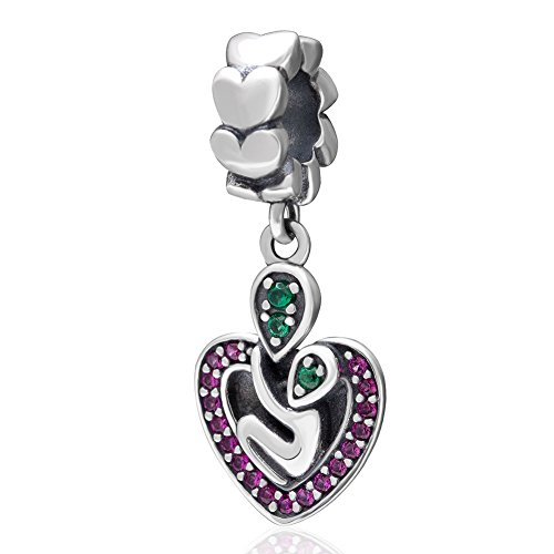 Ollia Jewelry 925 Sterling Silver Heart Dangle Charm with Fuchsia and Green Zircon Stones Hold Me Tight Deep Love Hug European Beads and Charms