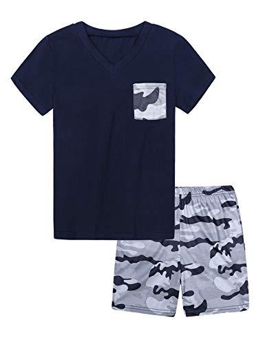 Hawiton Pijama niño Verano Corto,Ropa de Dormir de Camuflaje de Manga Corta, para 4-5 años, Camiseta con Bolsillo en el Pecho y Pantalones Corta 2 Piezas