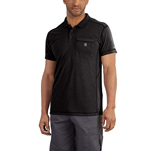 Carhartt Men's Force Extremes Pocket Polo, Black, X-Large