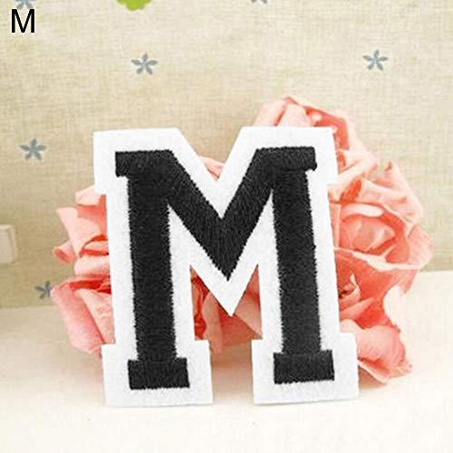 Parche bordado con letras del alfabeto inglés A-Z para coser y planchar