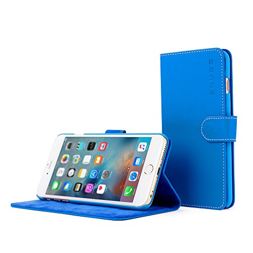 Snugg iPhone 6 Plus / 6s Plus Case - Leather Wallet Cover Case with (Electric Blue) for Apple iPhone 6 Plus / 6s Plus