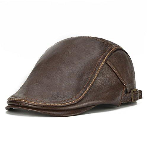 Men's Flat Cap Beret Hunting Real Cowhide Leather Driver Cap Newsboy Hat Brown