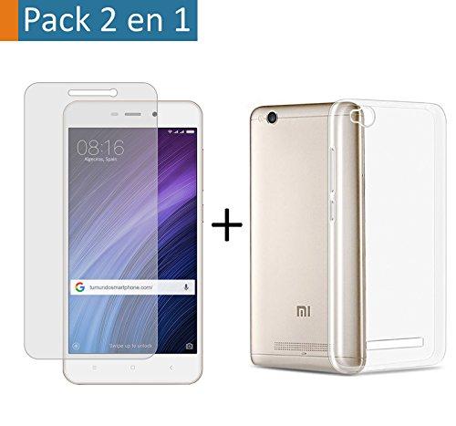 Pack 2 En 1 Funda Gel Transparente + Protector Cristal Templado para Xiaomi Redmi 4A