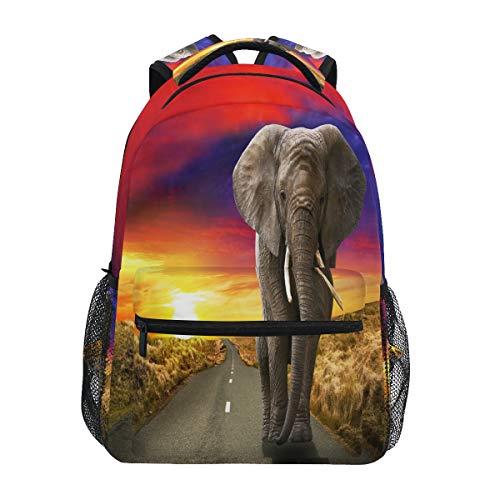 HaJie Backpack African Sunset Animal Elephant Travel Daypack Large Capacity Rucksack Casual School Book Bag Shoulder Straps Computer Laptop Bag for Womens Mens Teenage Girls Boys