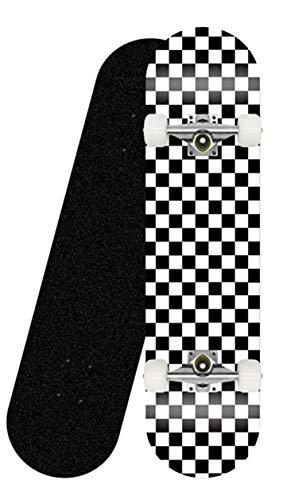 Teen Adult Anfänger Komplettes Skateboard 31``x8 '' Check Pattern 7-lagiges Maple Platform Double Kick Concave Jungen- und Mädchen-Skateboard-Silberne Klammer