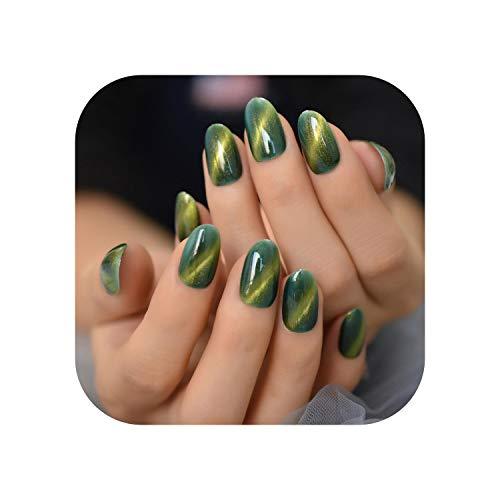 3D Cat Eyes Press On Nails Stiletto Medium Black Gel Nail Gold Galaxy Sky Jewelry Nail Tips Handmade Kit 24pcs-L5520-