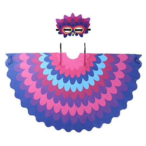 iiniim 2pcs Disfraz de Pájaro Bonito Loro para Niño Niña Máscara de Pájaro Alas Colores Traje de Halloween Carnaval Fiesta Cumpleaños Actuación Cosplay