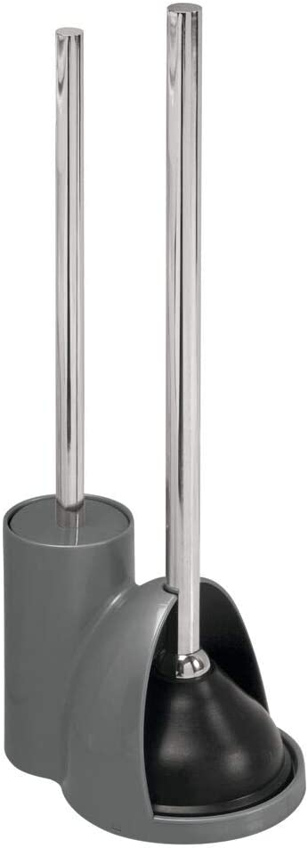 mDesign Compact Freestanding Today's only Plastic Super popular specialty store Toilet Brush and Bowl Plung