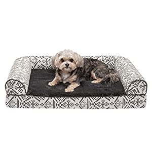 Furhaven Pet Dog Bed – Memory Foam Plush Kilim Southwest Home Decor Traditional Sofa-Style Living Room Couch Pet Bed with Removable Cover for Dogs and Cats, Boulder Gray, Medium