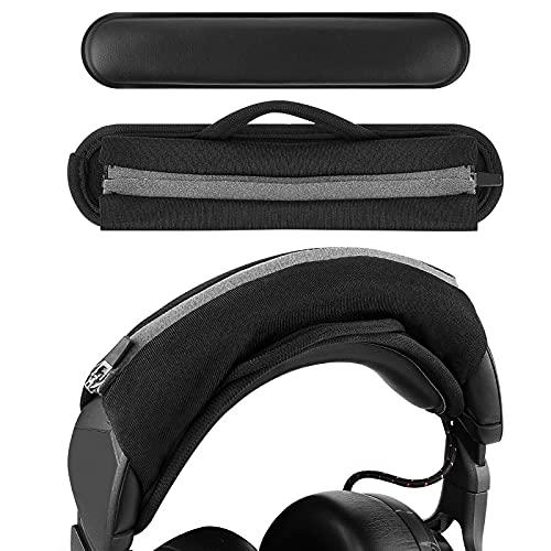 Geekria Funda para diadema grande con gancho y lazo + juego de almohadillas para la diadema, no necesita herramientas, compatible con auriculares ATH, JBL, Razer, Sony, Sennheiser (negro)