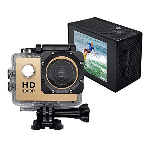 Sport Action Kamera,wasserdichte 1080p Unterwasserkamera mit 140 ° Weitwinkelobjektiv,900mAh Akku,Unterwasser 30m(Gold)