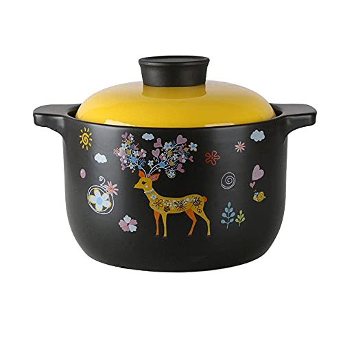 Tonauflauf Topf Auflauf Keramikeintopf Auflauf Reisauflauf Hochtemperaturwiderstandsfähiger Suppentopf Gasherd für Haushalt Gasherd Dediziert Groß-5.5L Kochen