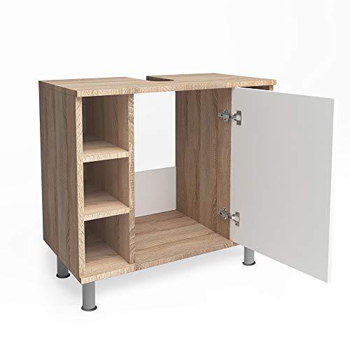 Vicco Waschtischunterschrank Fynn Badschrank Badezimmerschrank Waschbeckenunterschrank Badmöbel (Sonoma-Eiche/Weiß)